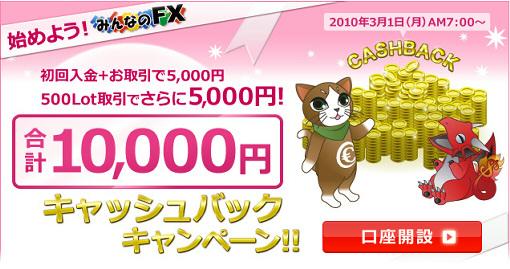 EMCOM証券「みんなのFX」が現金5千円プレゼントキャンペーン -初回取引-